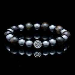 [NEW ARRIVAL] Steel of Hearts | Silver Dragrose Gold Obsidian Hematite Beaded Bracelet - Azuro Republic