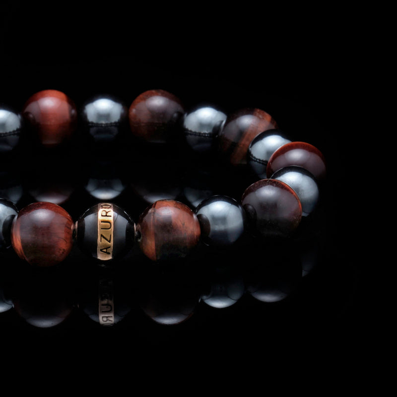 Maximus | 24k Gold Enamel Black Hemitite Tiger Eye Beaded Bracelet