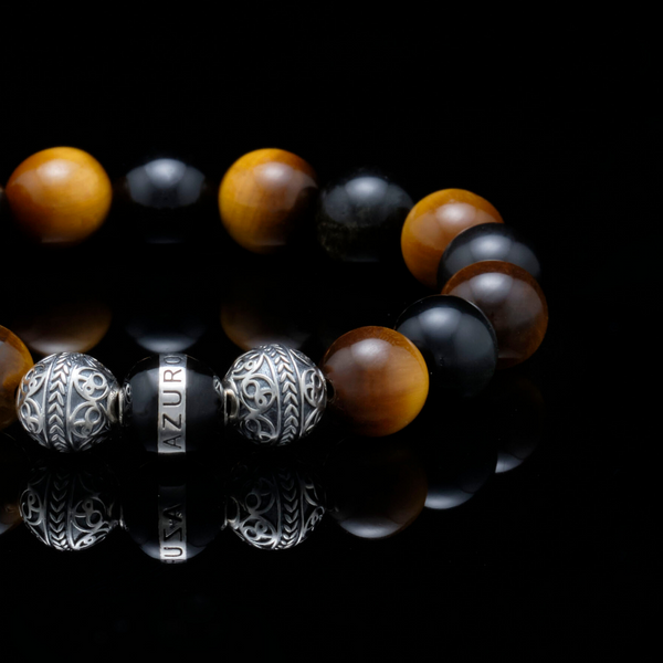 [NEW ARRIVAL] The Crouching Tiger | Silver Enamel Black Obsidian Tiger Eye Beaded Bracelet - Azuro Republic
