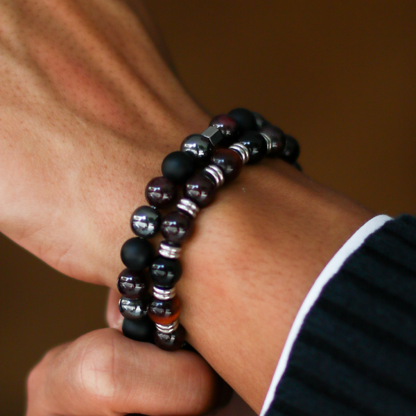[New Arrival] Cranberry Sauce | Men Stack Beaded Bracelets | Men Beaded Bracelet