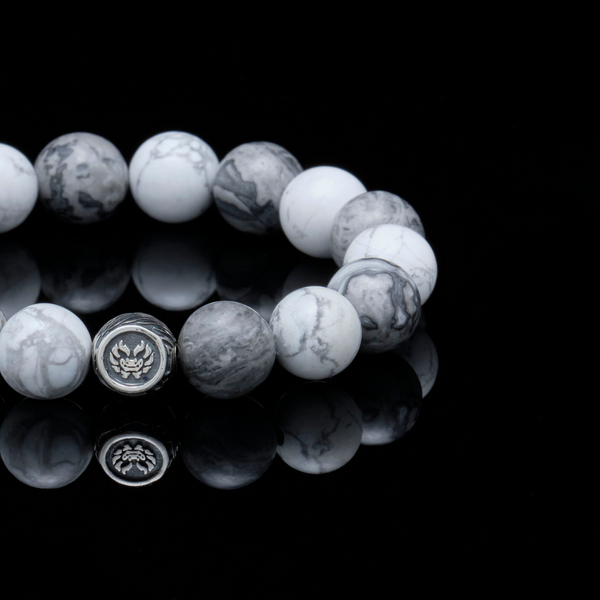 [NEW ARRIVAL] The Vault Hunter | Silver Dragrose Picasso Jasper Howlite Beaded Bracelet - Azuro Republic