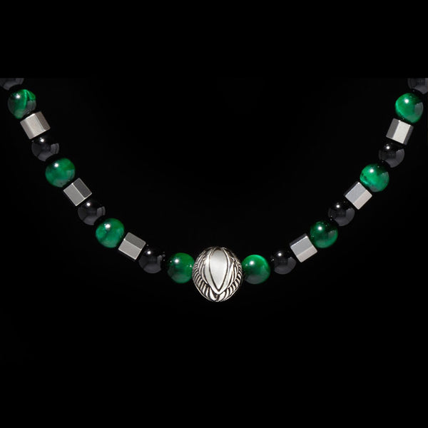 [New Arrival] Beaded Angel Wing Necklace with Green Tiger Eye, Obsidian