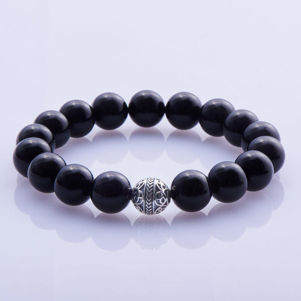 [NEW ARRIVAL] Silver bead obsidian bracelet – The Odin - Azuro Republic