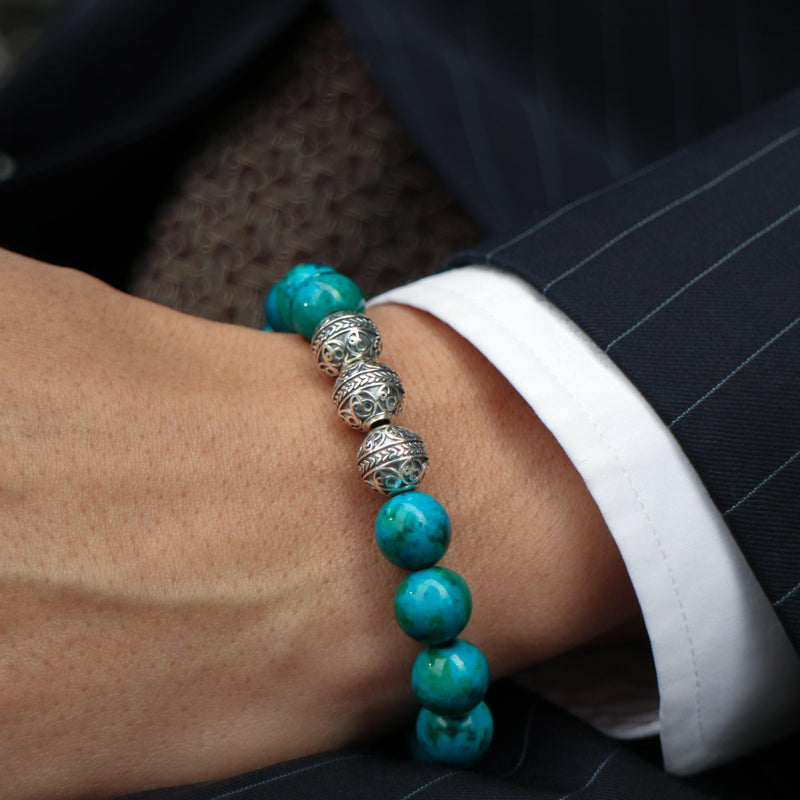Silver Classic Blue Turquoise Mens Beaded Bracelet -8
