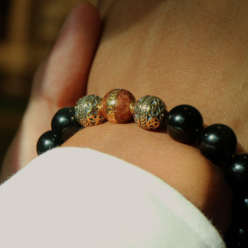 GOLD ENAMEL BROWN OBSIDIAN BRACELET - Azuro Republic