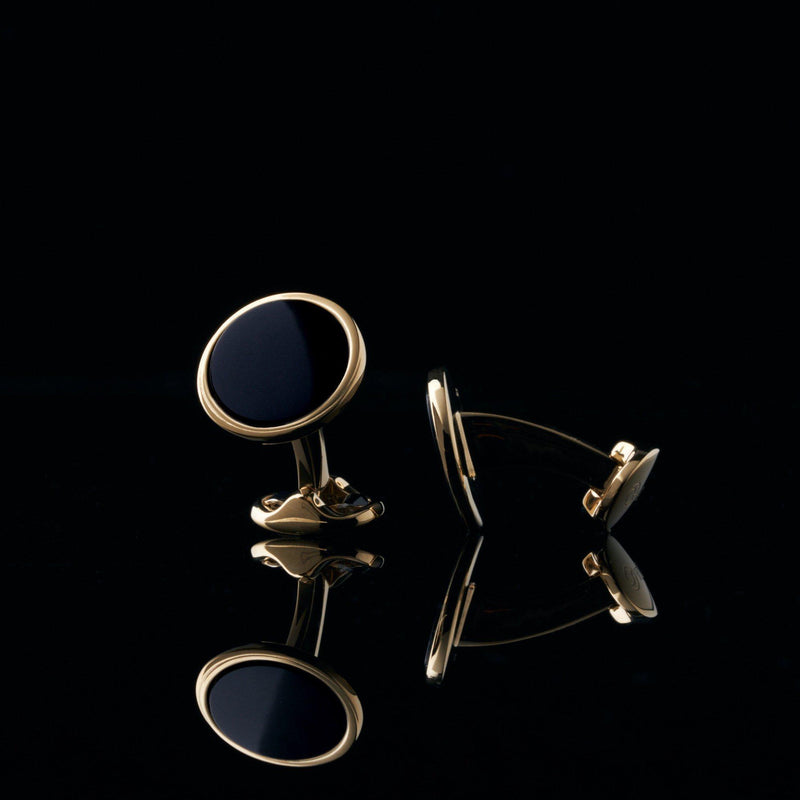 mens gold cuflfink designed by Azuro Republic, select suit cufflinks for men with obsidian stone men accessories