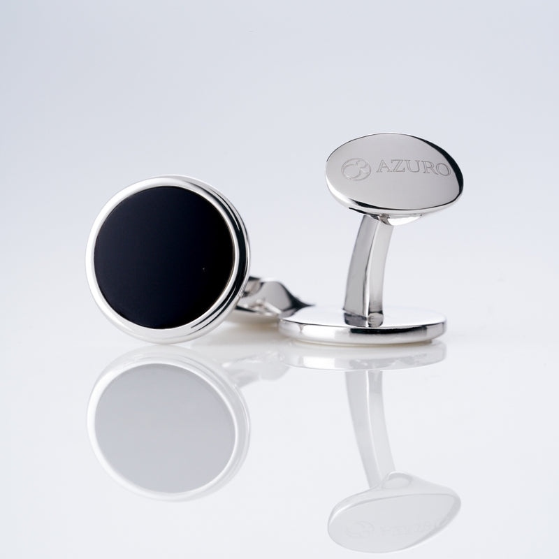 mens sterling silver cufflink designed by Azuro Republic, select suit cufflinks for men with obsidian stone men accessories