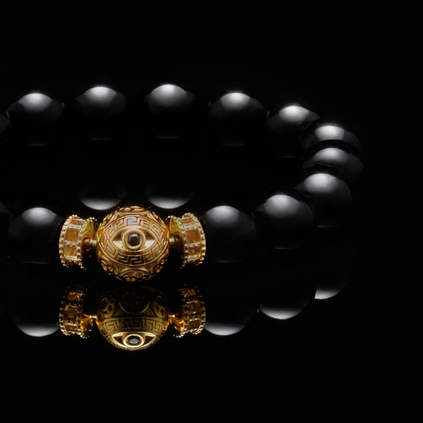The Gold Black Evil Eye Obsidian Bracelet
