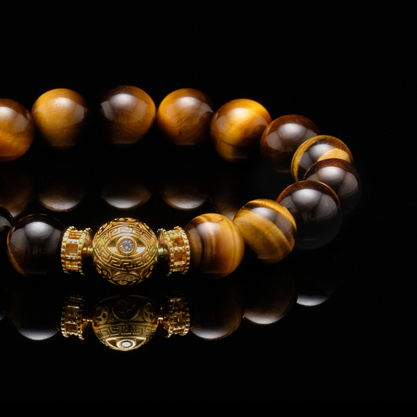 The Gold White Evil Eye Tiger Eye Bracelet