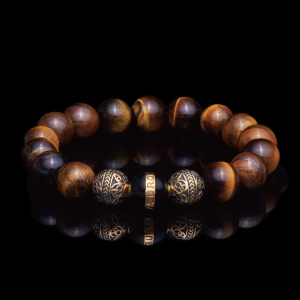 azuro republic men accessories: mens tiger eye beaded bracelet healing gemstone jewelry gold bracelet gift for men