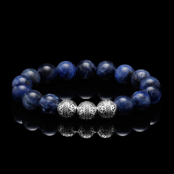 azuro republic men accessories: mens blue sodalite stone beaded bracelet healing gemstone jewelry gold bracelet gift for men