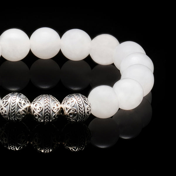 azuro republic men accessories: mens white jade stone jade beaded bracelet healing gemstone jewelry silver bracelet gift for men