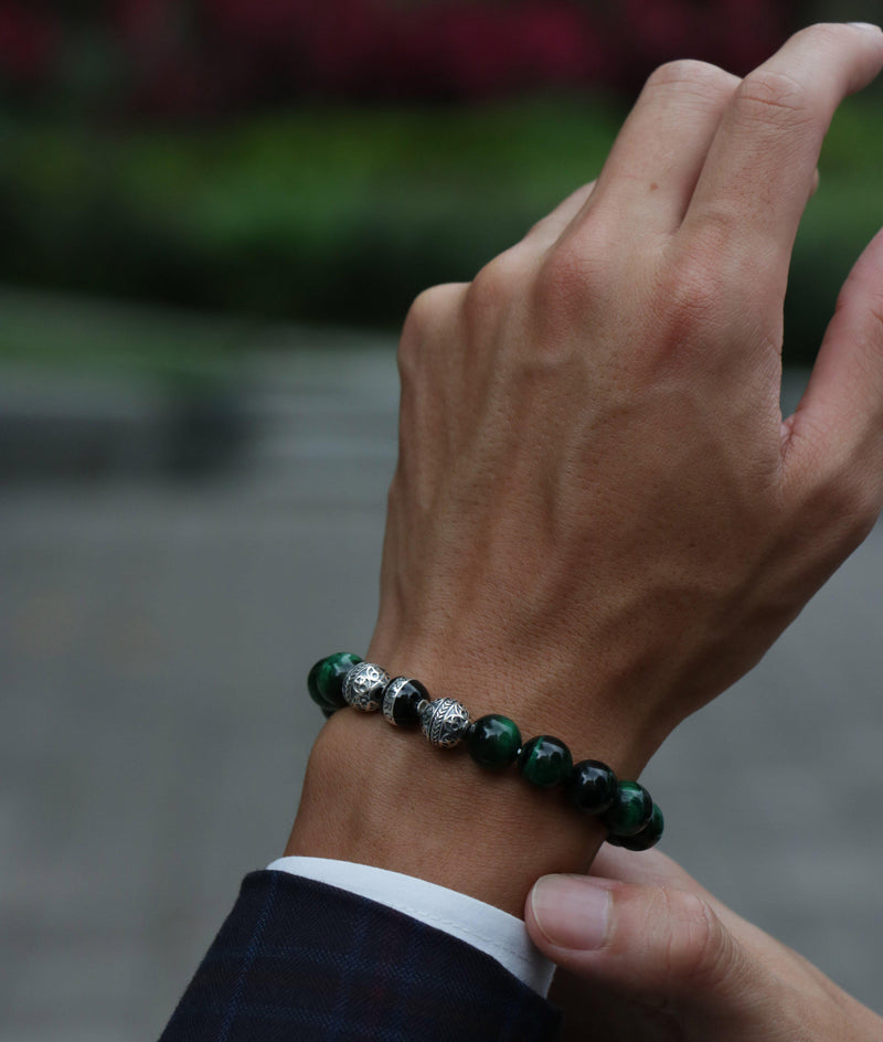 SILVER ENAMEL GREEN TIGER EYE BRACELET - Azuro Republic