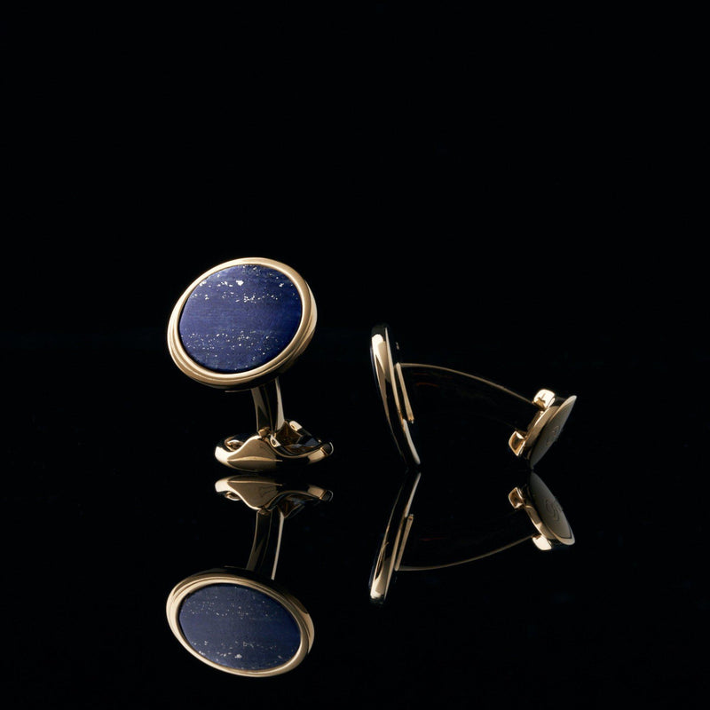 mens gold cuflfink designed by Azuro Republic, select suit cufflinks for men with lapis lazuli stone men accessories