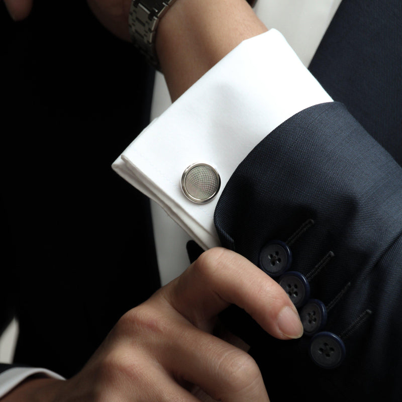 mens sterling silver cufflink designed by Azuro Republic, select suit cufflinks for men with gemstone men accessories