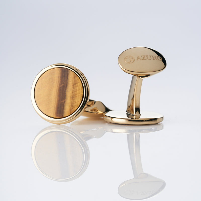 mens gold cuflfink designed by Azuro Republic, select suit cufflinks for men with tiger eye stone men accessories