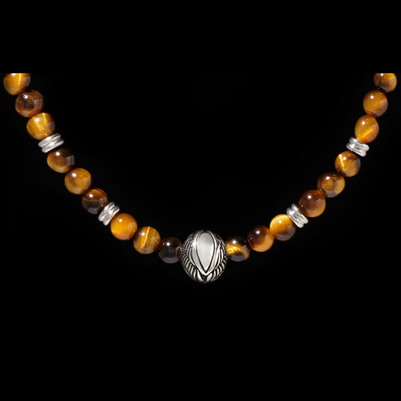 [New Arrival] Beaded Angel Wing Necklace with Tiger Eye