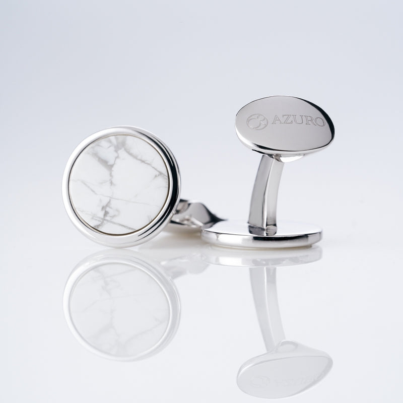 mens sterling silver cufflink designed by Azuro Republic, select suit cufflinks for men with white howlite stone cufflink men accessories