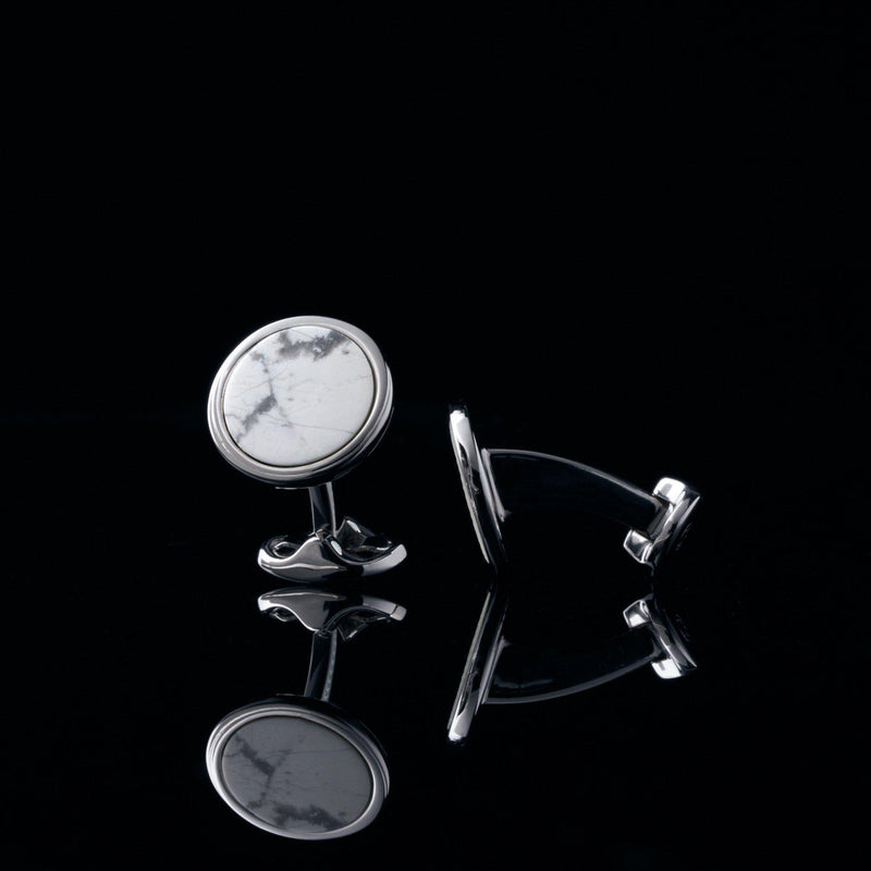 mens sterling silver cufflink designed by Azuro Republic, select suit cufflinks for men with howlite stone cufflink men accessories