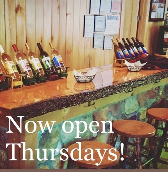 The Tasting Room is Now Open Thursdays Through sundays!