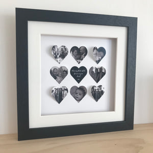 Personalised heart frame - 9 hearts medium frame - daisytreegifts