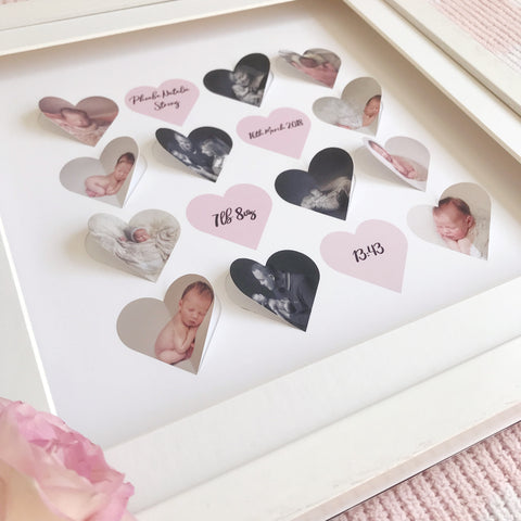 Personalised framed 3d heart collage - Large 16 jumbo hearts - daisytreegifts