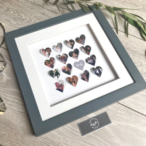 Personalised framed photo heart collage - Medium 16 hearts - daisytreegifts