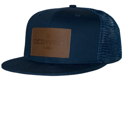 Leather Patch Flatbill Snapback - Navy