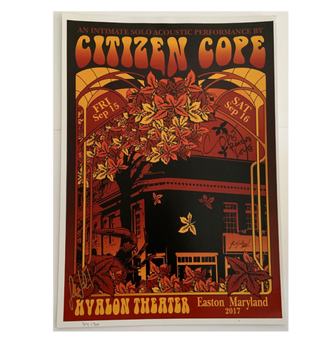 Avalon Theater Easton, MD 9/15/2017 Poster (Not Signed)