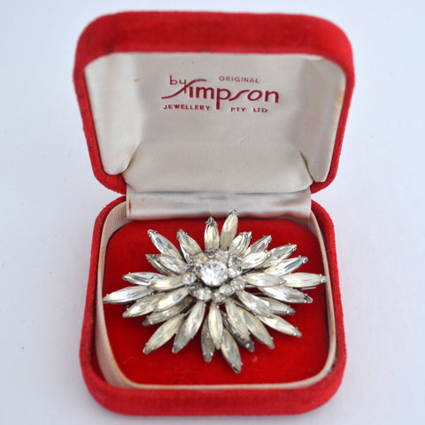 Simpson Diamante Flower Brooch