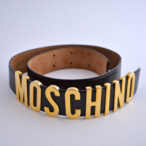 Moschino 90s Black Leather Belt