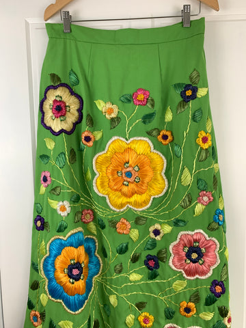 70s Vintage Green Embroidered Floral Raffia Maxi Skirt