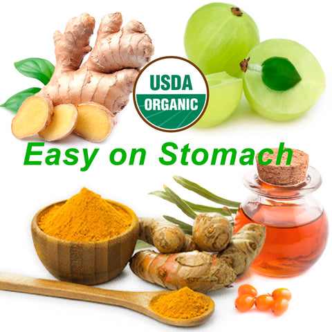 turmeric, amla, ginger, sea buckthorn oil, easy on stomach