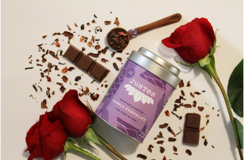 chocolate, purple tea, roses