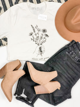 Bloom With Grace Tee - Vintage White