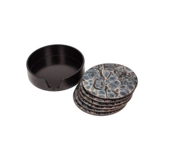 S/6 ROUND GLASS TOP COASTERS
