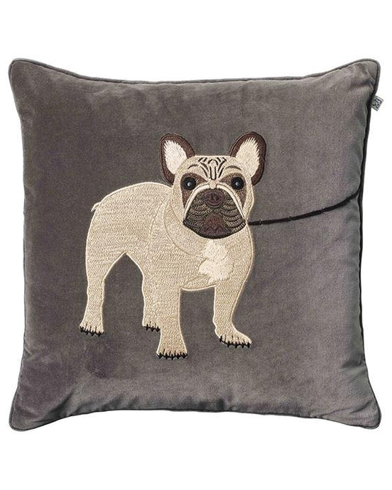 Cushion Cover velvet embroidered French bull dog - BB InteriorChhatwal & JonssonCushion