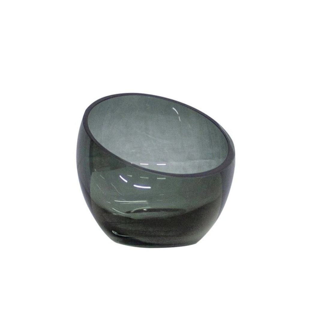 Grey tealight small glass - BB InteriorDôme Deco