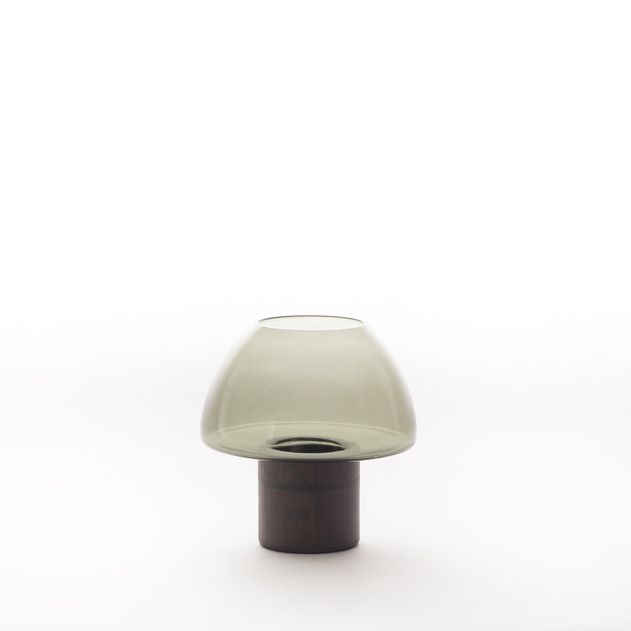 Dôme Deco Tealight With Wooden Base Candle Holder