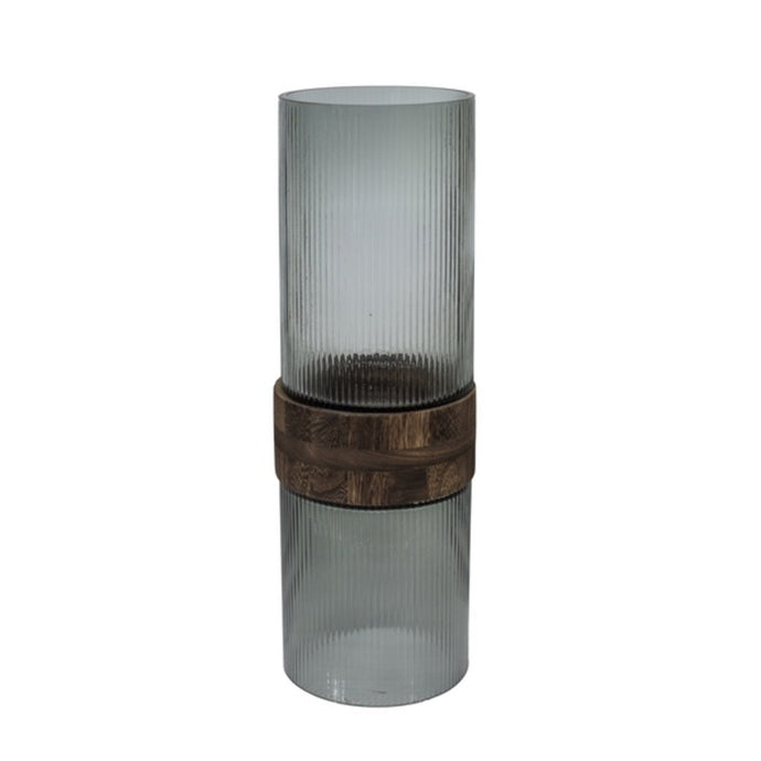 Vase glass with mid brown wood M - BB InteriorDôme Deco