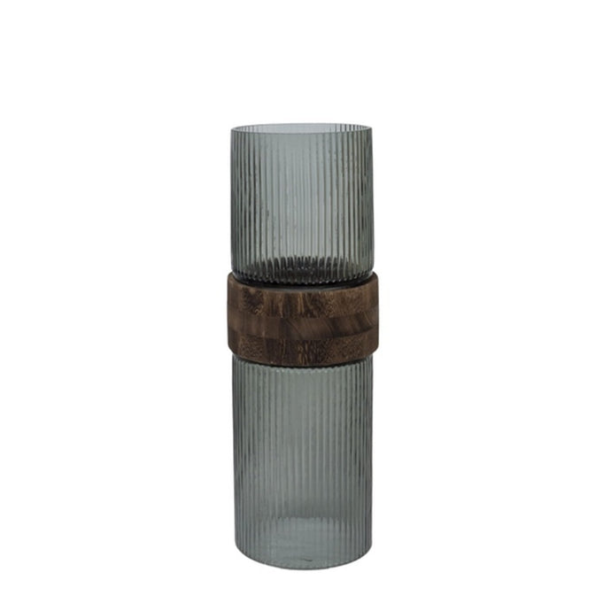 Vase glass with mid brown wood S - BB InteriorDôme Deco