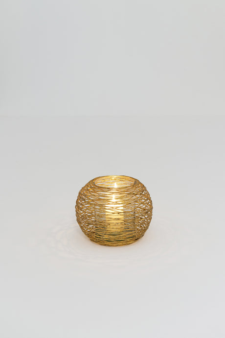 Holländer Candle holder gold glass - small