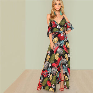 12c9fb29599 SHEIN Summer Boho Floral Print Sexy Deep V Neck Open Shoulder Maxi Dress  Women Beach Vacation