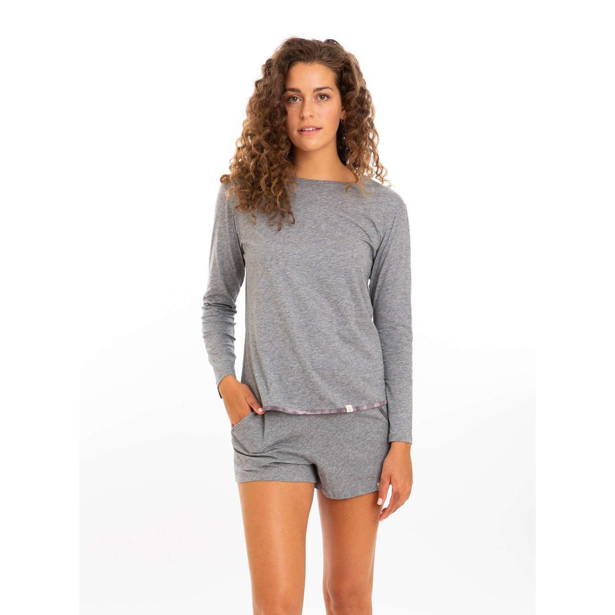 Leena & Lu:The Pima long sleeve Shirt,S / Heather Gray,T-SHIRT