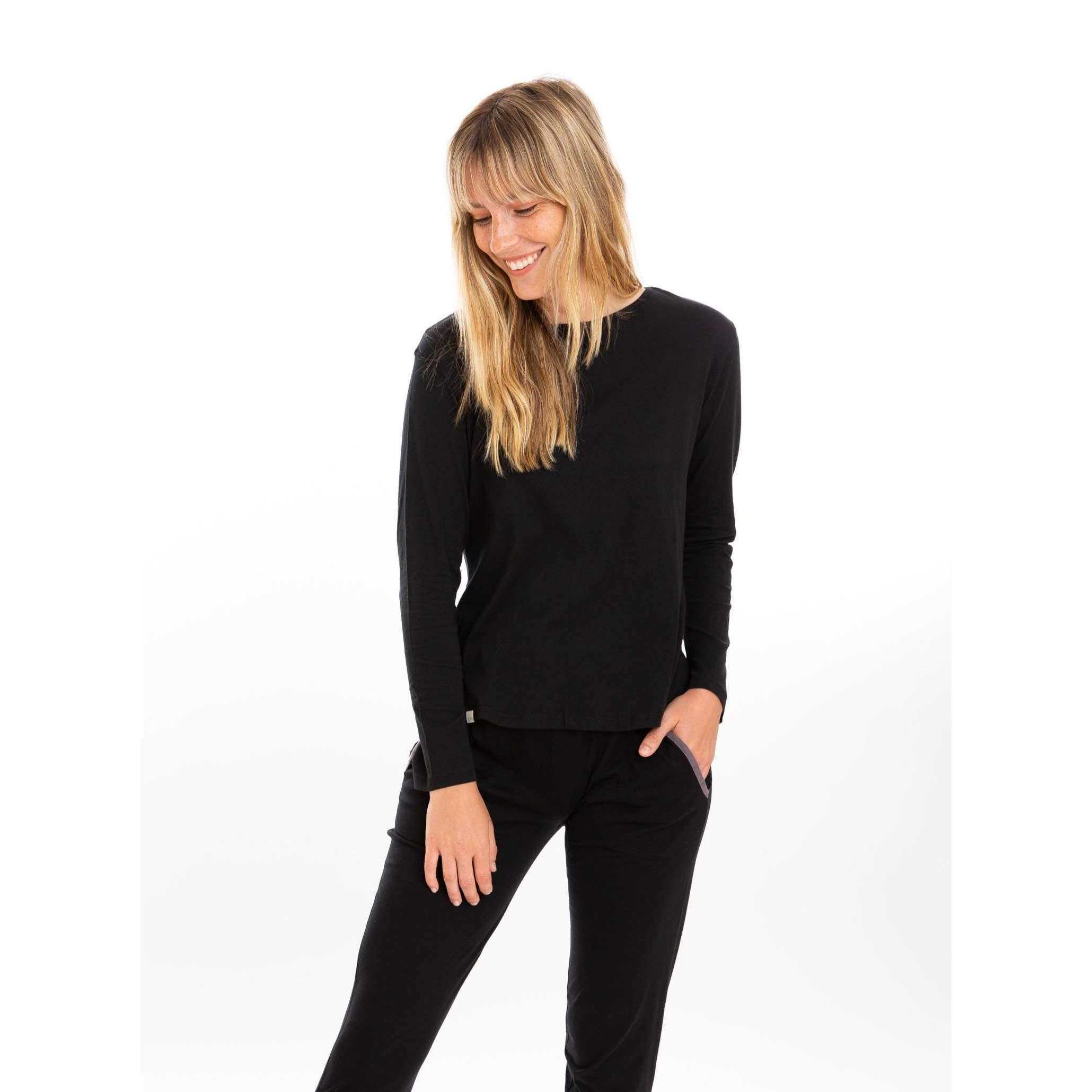 Leena & Lu:The Pima long sleeve Shirt,S / Black,T-SHIRT