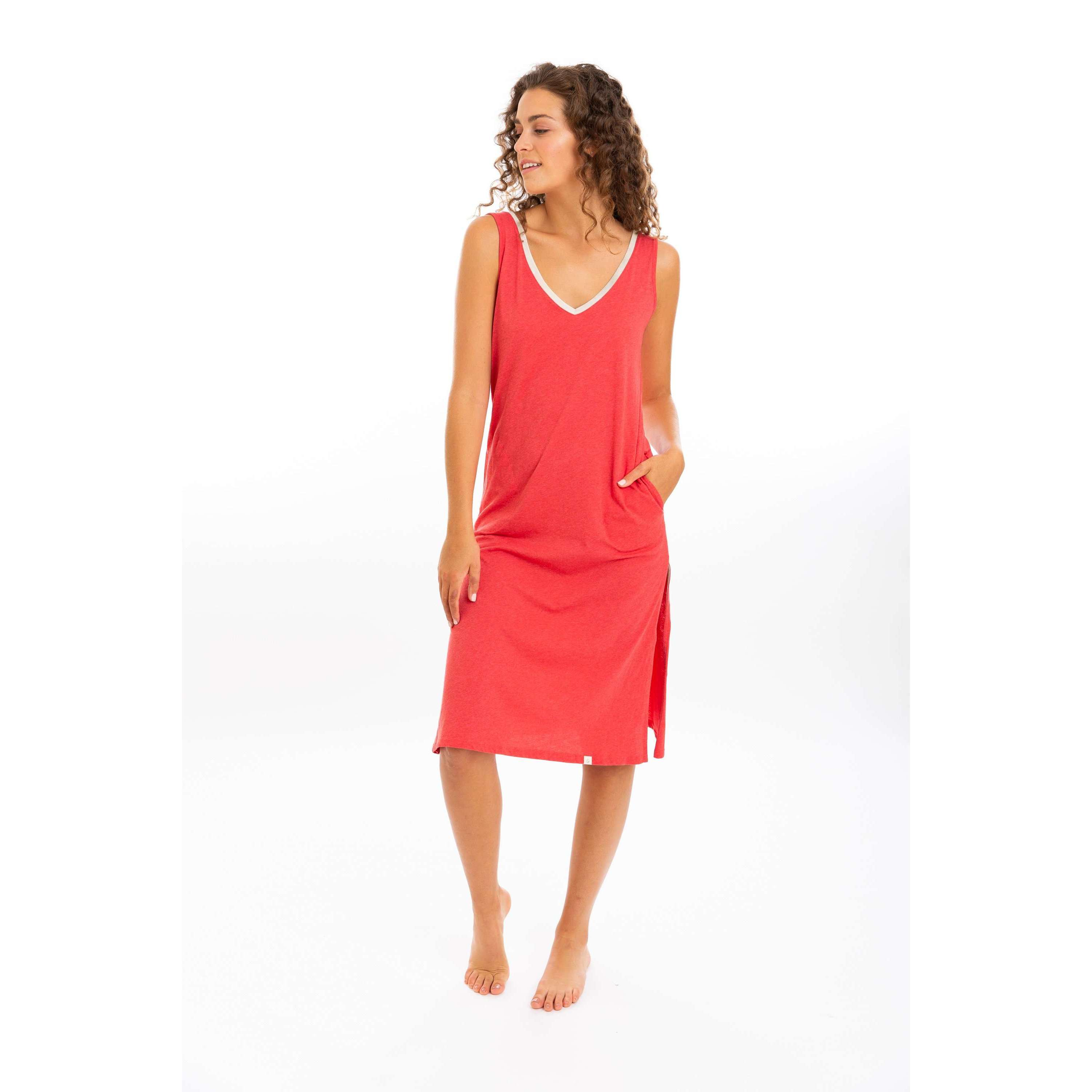 Leena & Lu:The Pima Long Dress,XS / Coral,DRESS