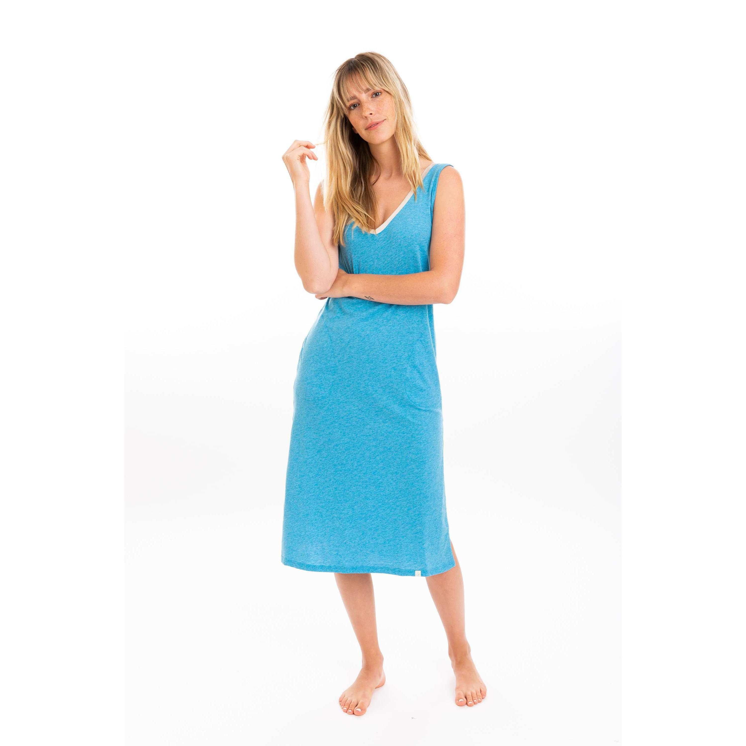 Leena & Lu:The Pima Long Dress,S / Turquoise,DRESS