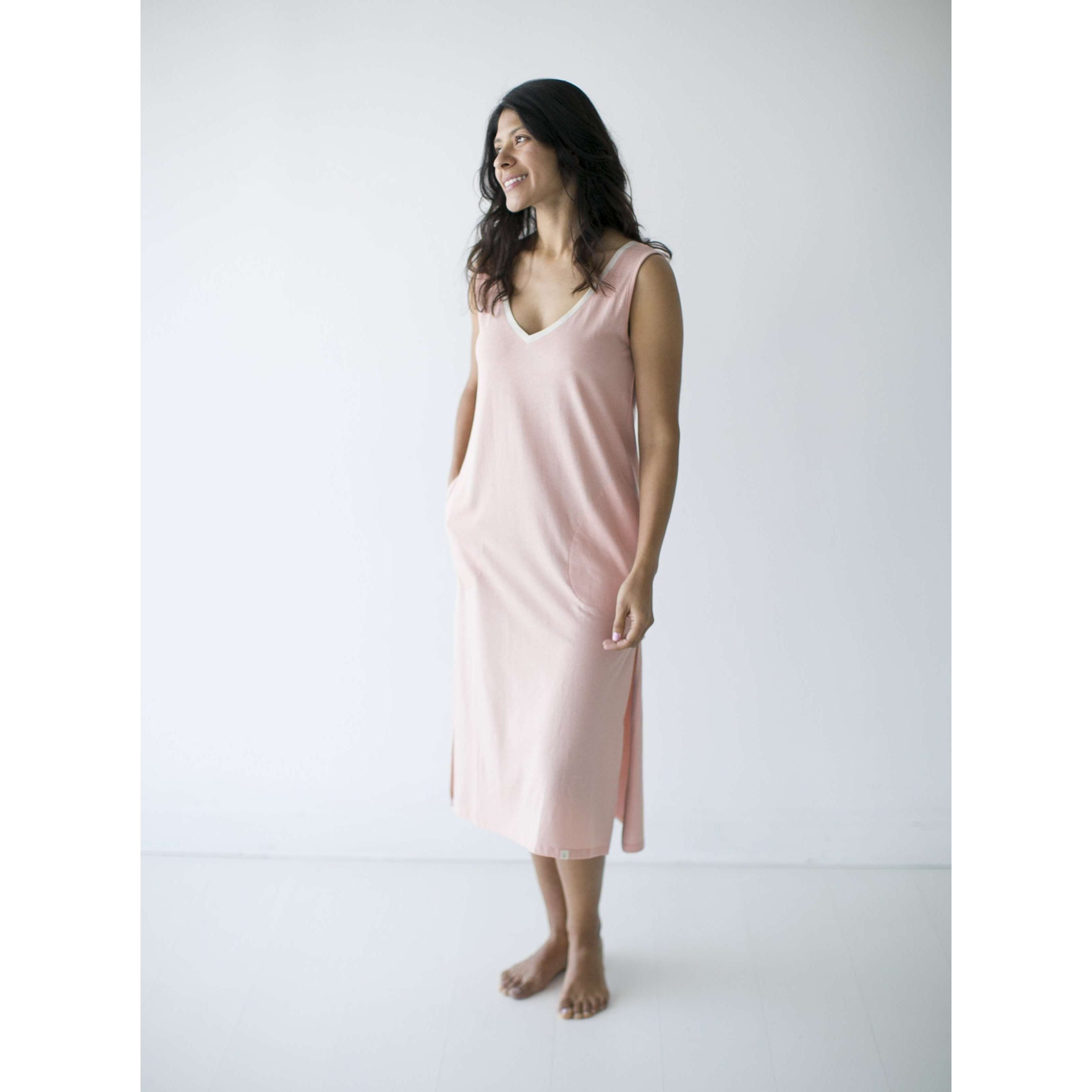 Leena & Lu:The Pima Long Dress,XS / Shell,DRESS