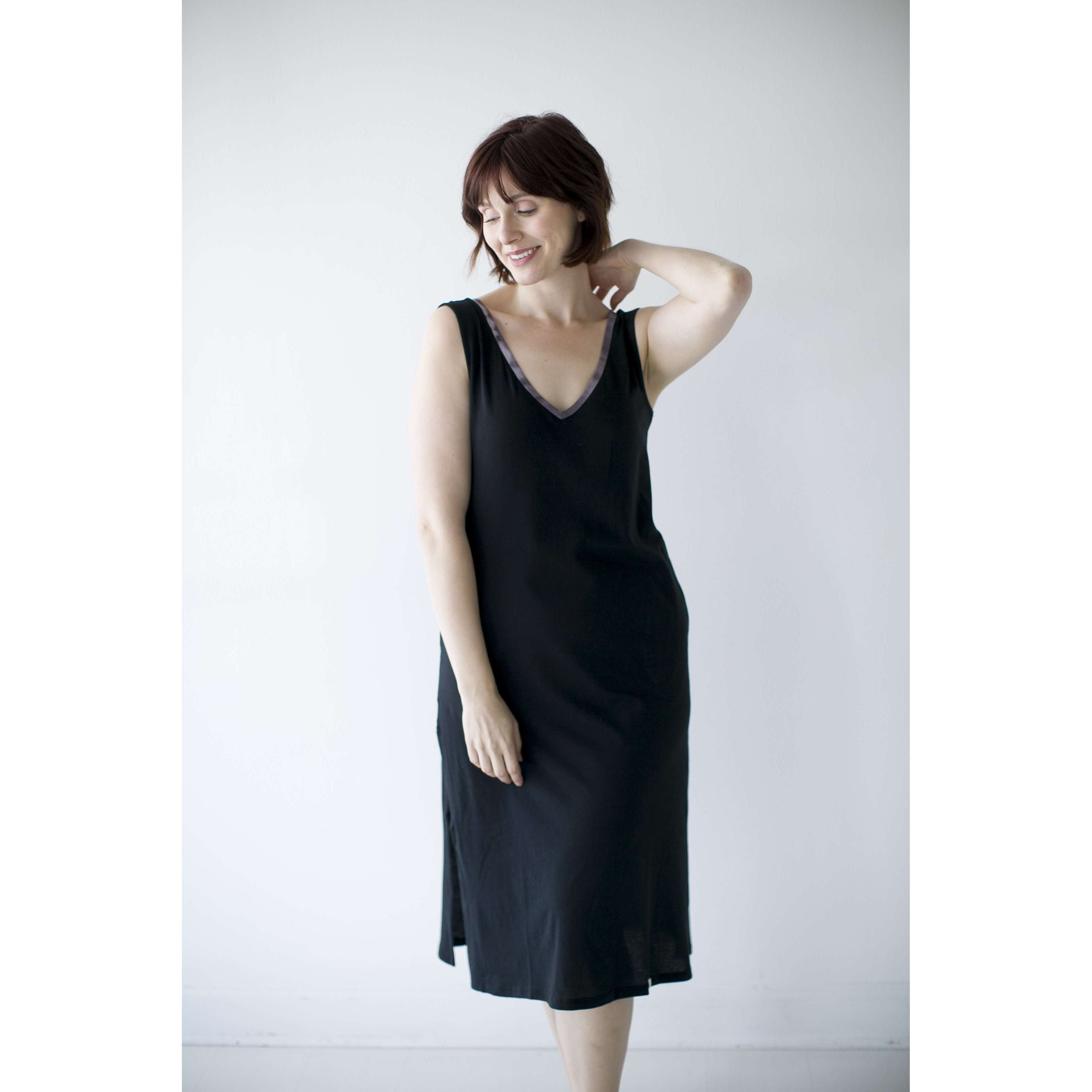 Leena & Lu:The Pima Long Dress,XS / Black,DRESS