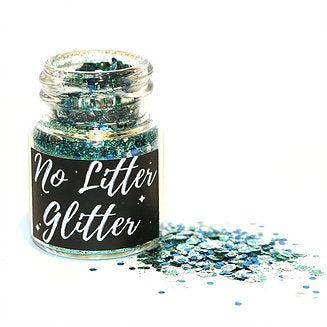 Biodegradable glitter in glass jar